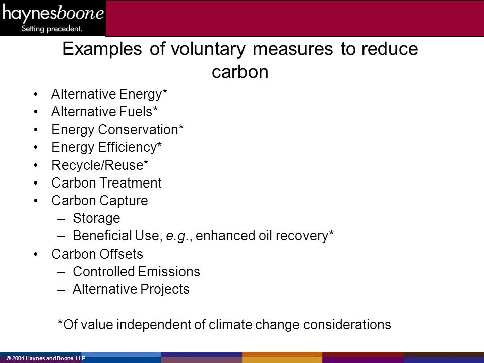 Examples of voluntary measures to reduce carbon