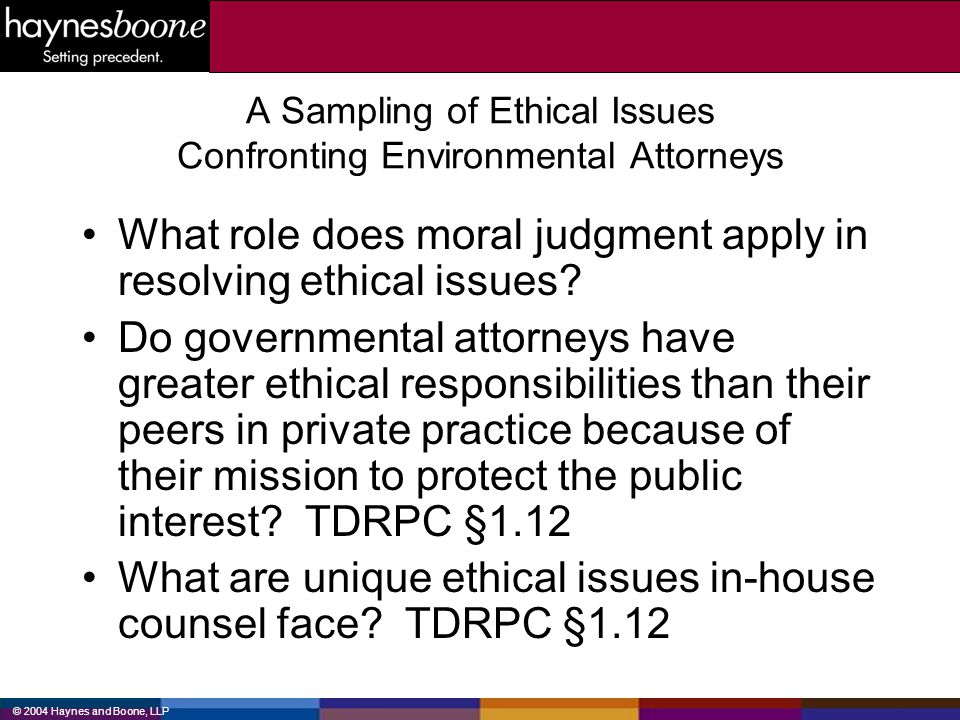 A Sampling of Ethical Issues Confronting Environmental Attorneys
