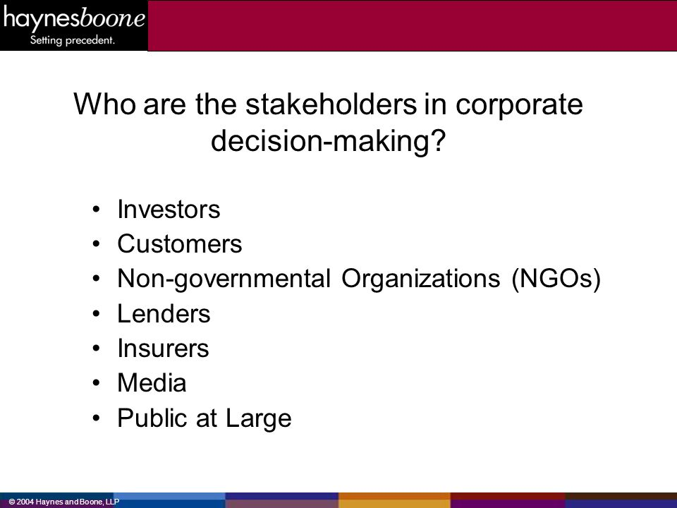 Who are the stakeholders in corporate decision-making
