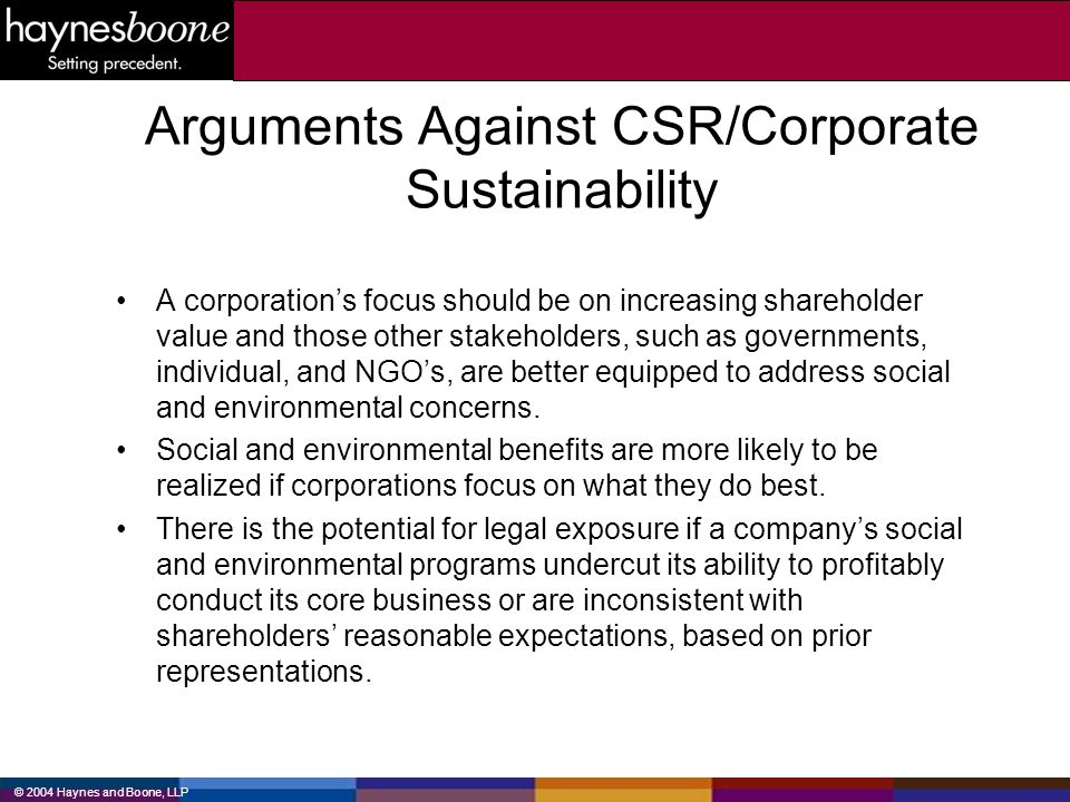 Arguments Against CSR/Corporate Sustainability