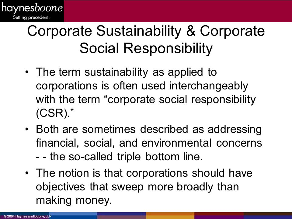 Corporate Sustainability & Corporate Social Responsibility