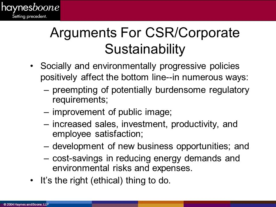 Arguments For CSR/Corporate Sustainability