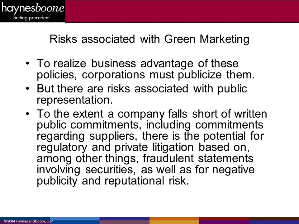 Risks associated with Green Marketing