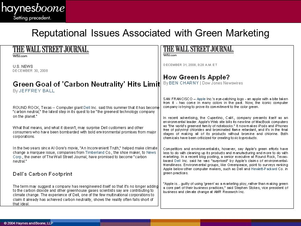 Reputational Issues Associated with Green Marketing