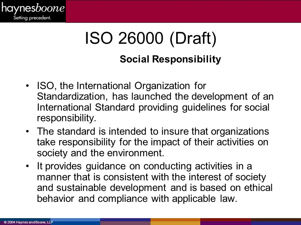 ISO (Draft) Social Responsibility