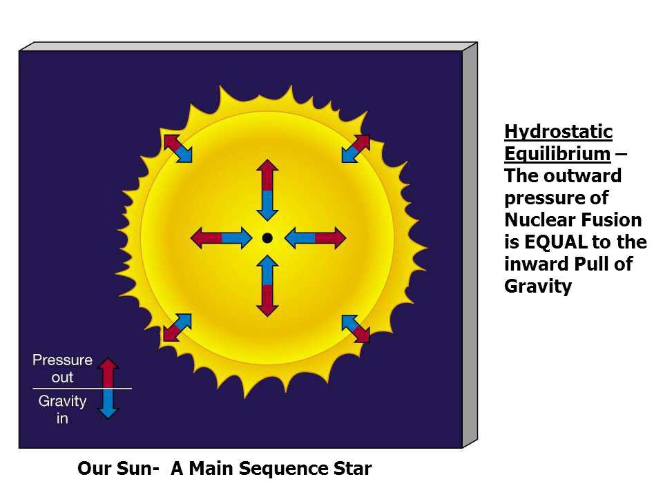 Hydrostatic Equilibrium – The outward pressure of Nuclear Fusion is EQUAL to the inward Pull of Gravity