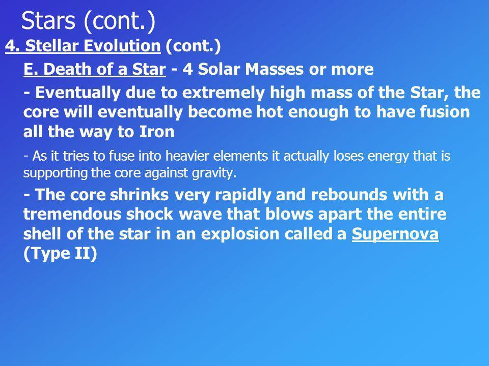 Stars (cont.) 4. Stellar Evolution (cont.)