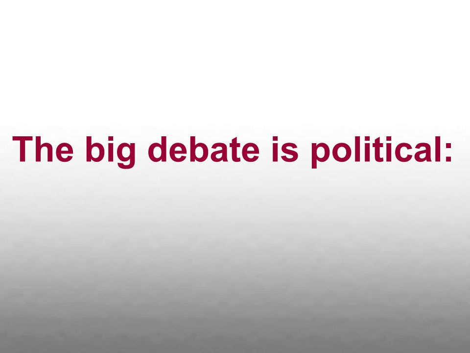 The big debate is political: