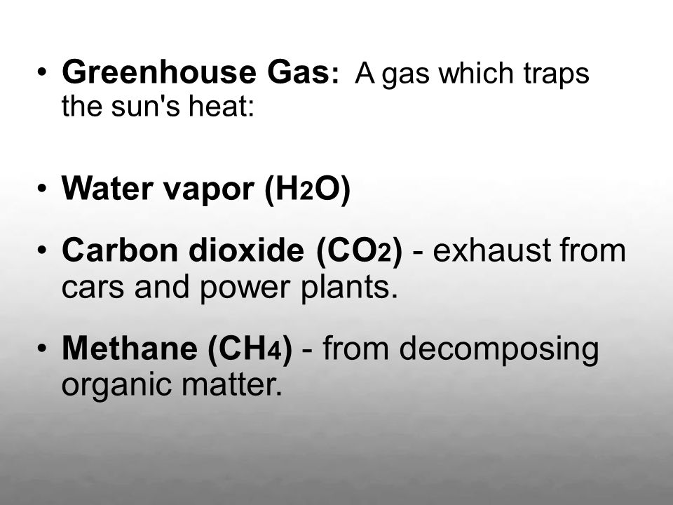 Greenhouse Gas: A gas which traps the sun s heat: