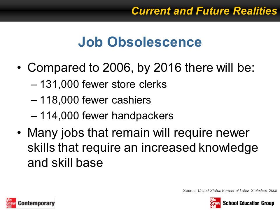 Job Obsolescence Compared to 2006, by 2016 there will be:
