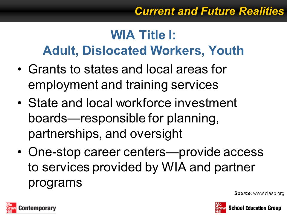 WIA Title I: Adult, Dislocated Workers, Youth