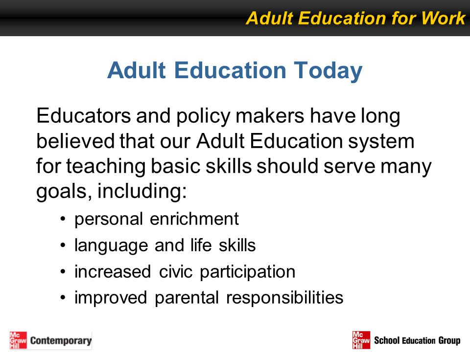 Adult Education for Work