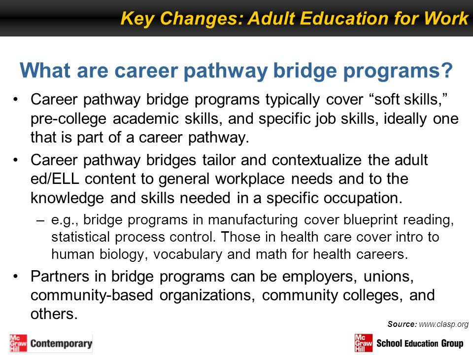 What are career pathway bridge programs