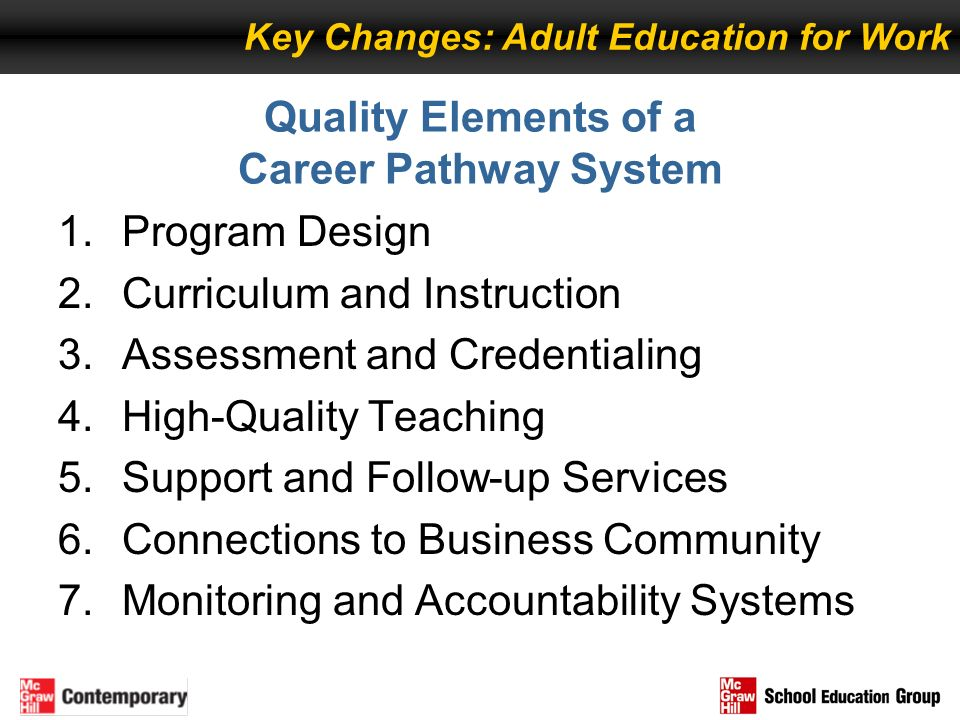 Quality Elements of a Career Pathway System