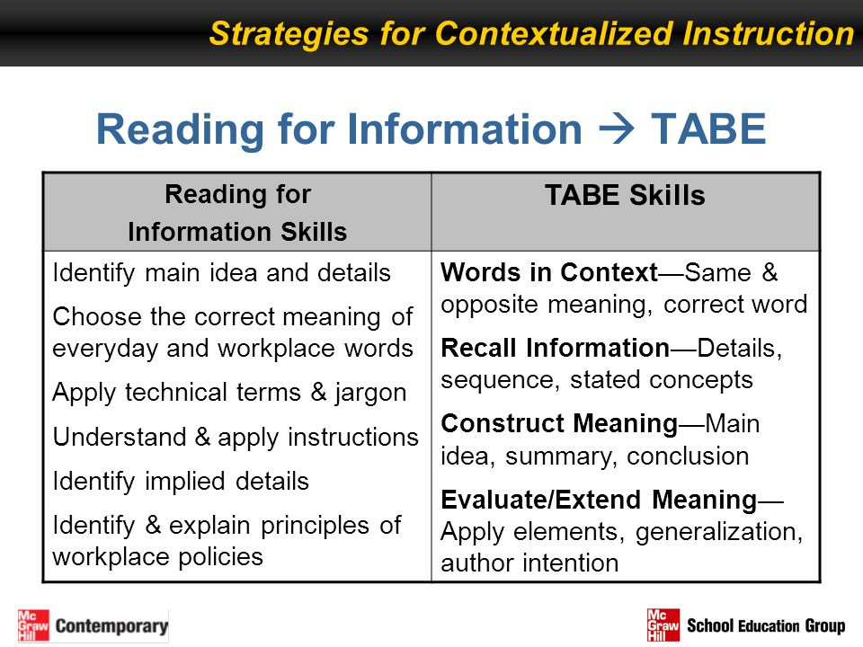 Reading for Information  TABE