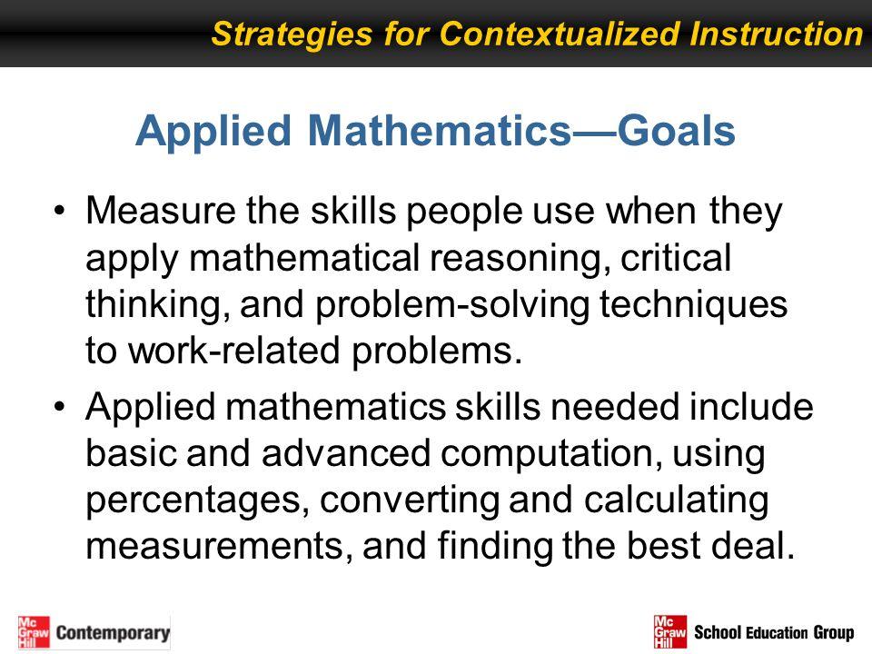 Applied Mathematics—Goals