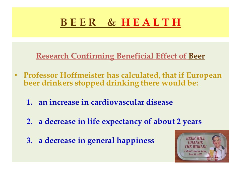 Research Confirming Beneficial Effect of Beer