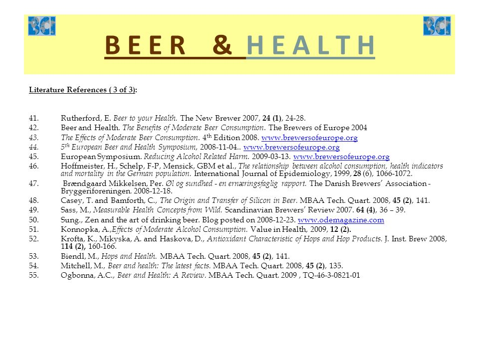 B E E R & H E A L T H Literature References ( 3 of 3):