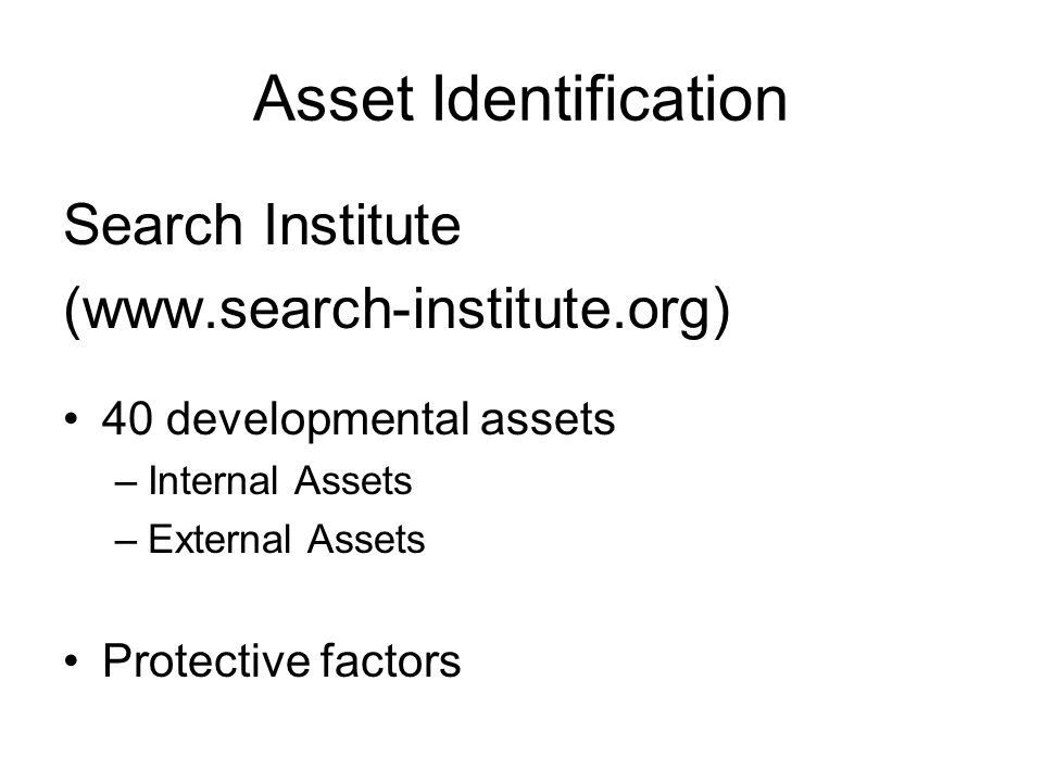 Asset Identification Search Institute (www.search-institute.org)