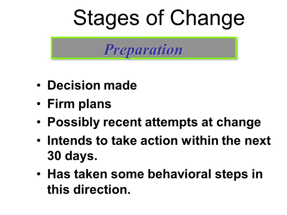 Stages of Change Preparation Decision made Firm plans