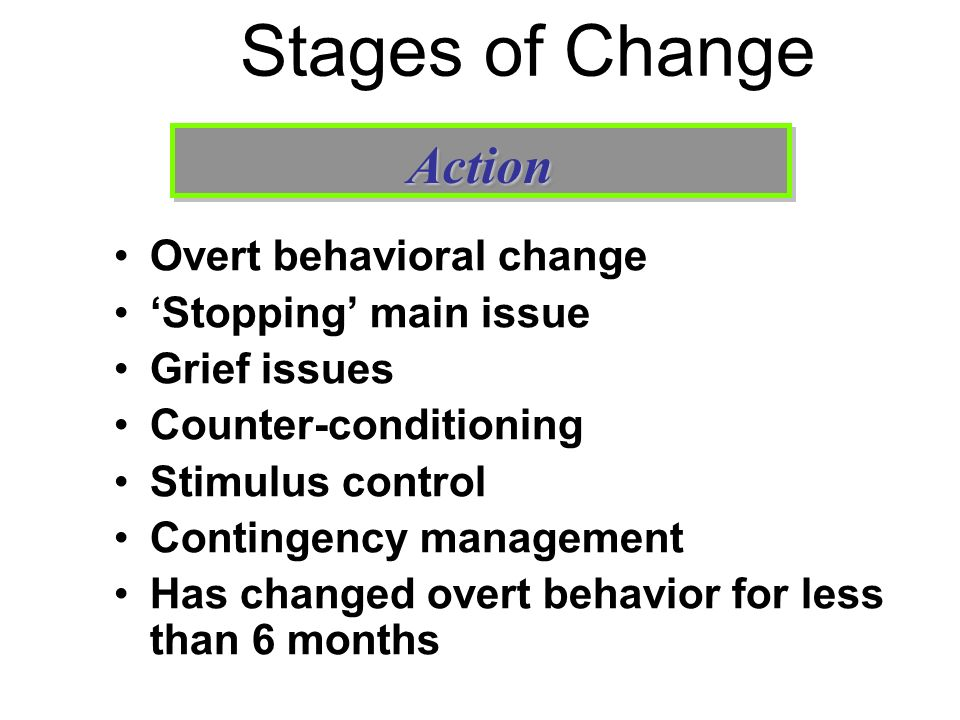 Stages of Change Action Overt behavioral change 'Stopping' main issue