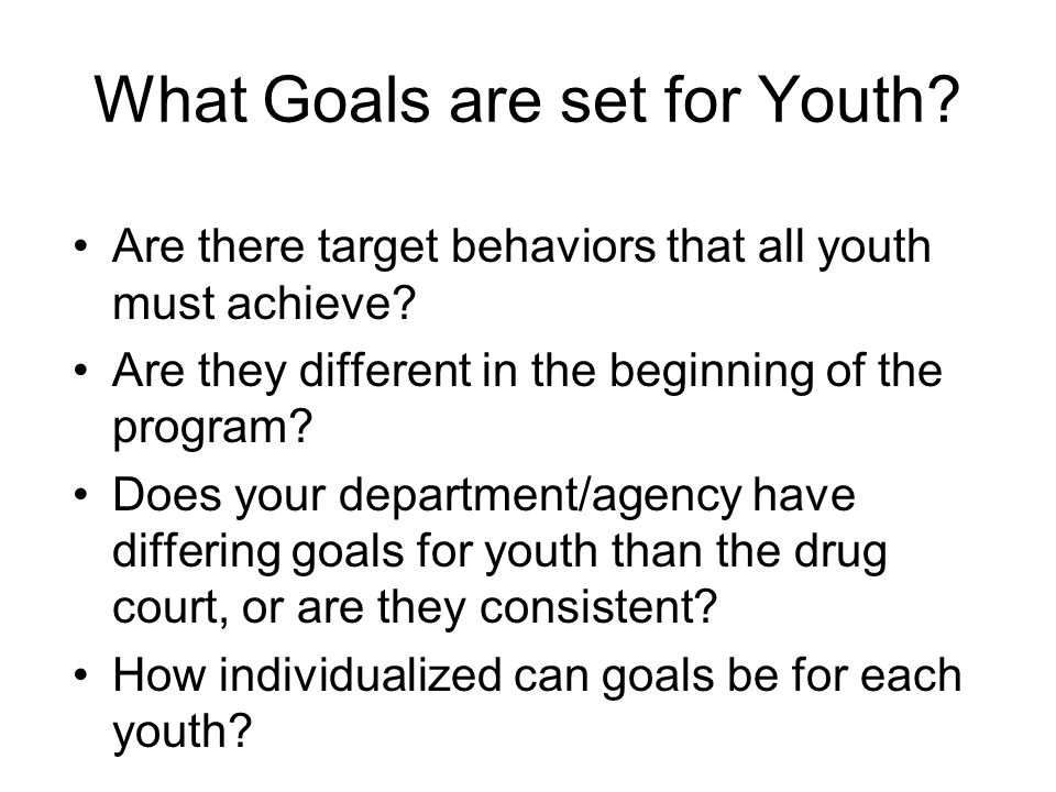 What Goals are set for Youth