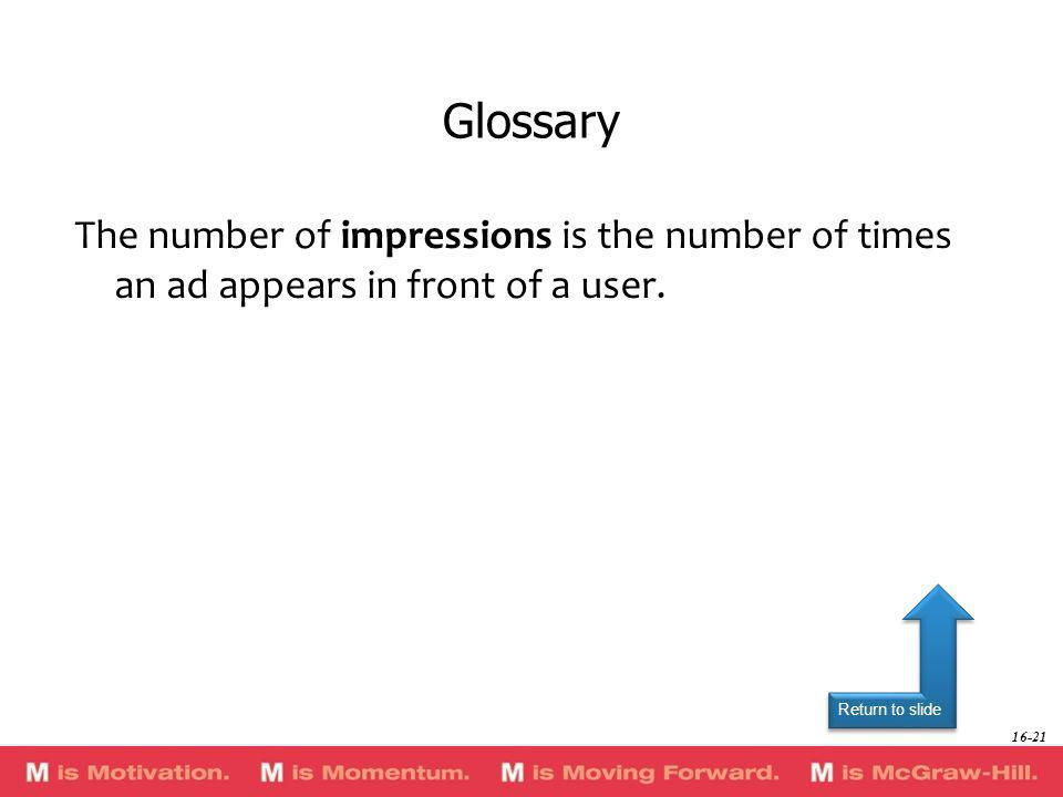 GlossaryThe number of impressions is the number of times an ad appears in front of a user.