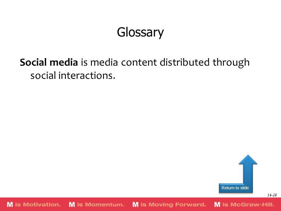 Glossary Social media is media content distributed through social interactions.