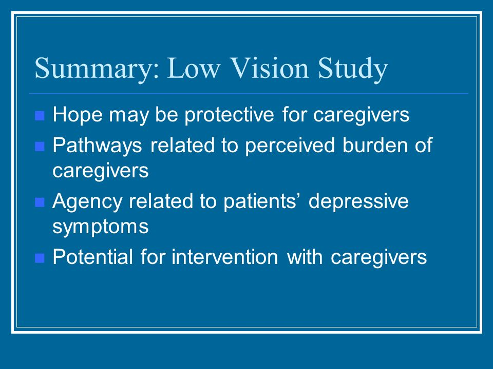 Summary: Low Vision Study