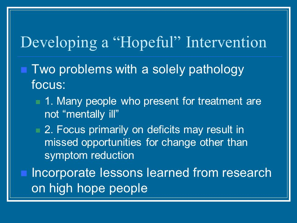 Developing a Hopeful Intervention