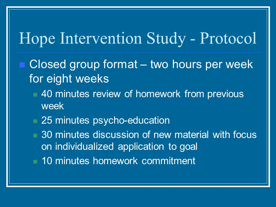 Hope Intervention Study - Protocol