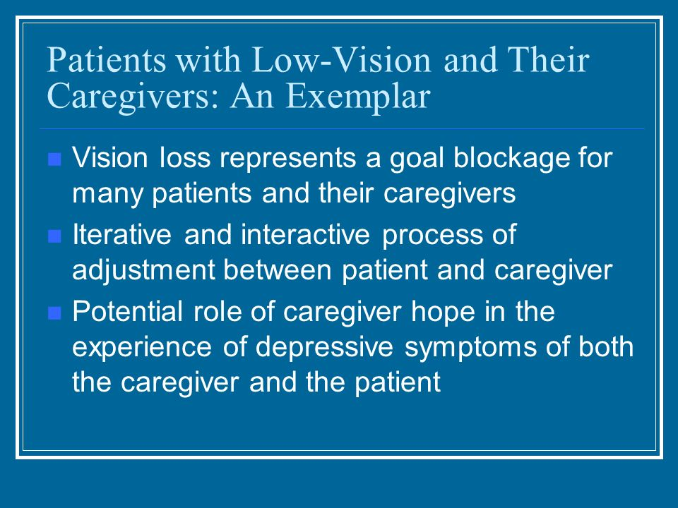 Patients with Low-Vision and Their Caregivers: An Exemplar