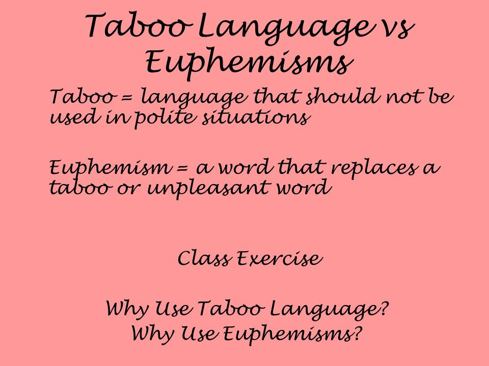 Taboo Language vs Euphemisms