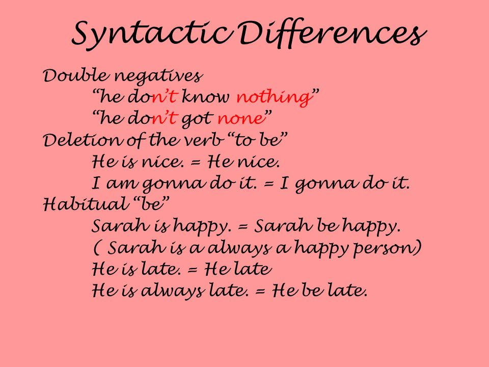 Syntactic Differences