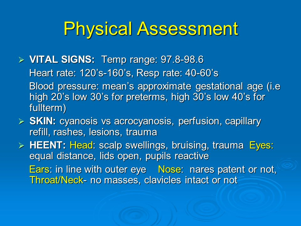 Physical Assessment VITAL SIGNS: Temp range: 97.8-98.6