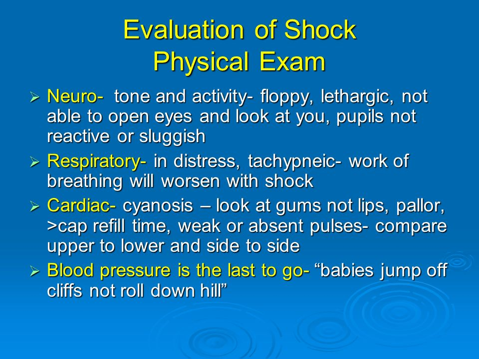 Evaluation of Shock Physical Exam