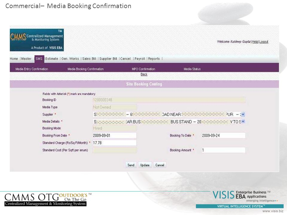 Commercial– Media Booking Confirmation