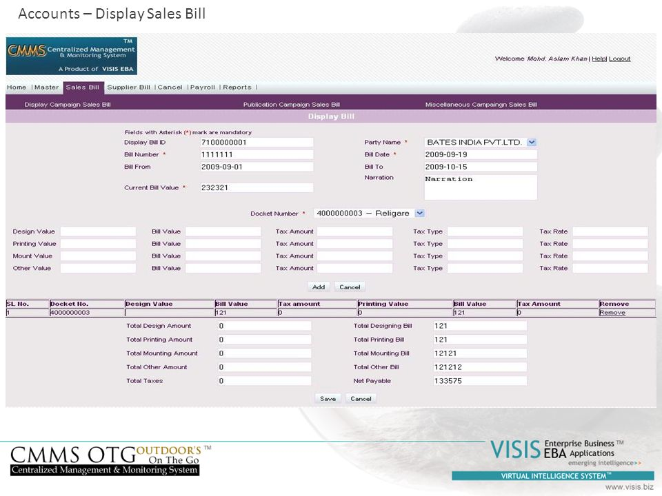 Accounts – Display Sales Bill