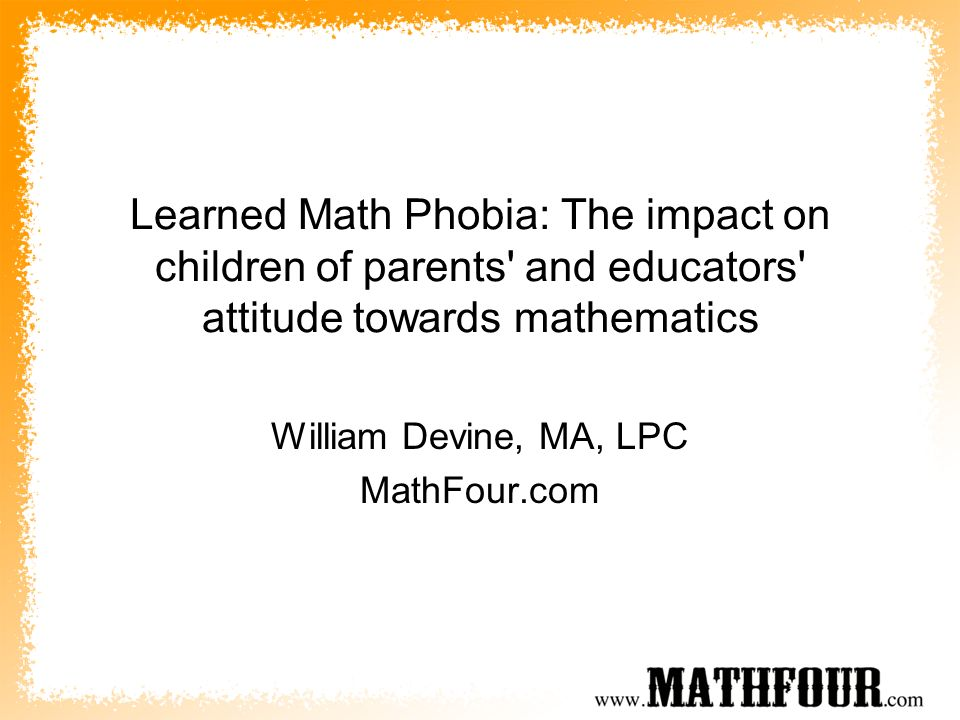William Devine, MA, LPC MathFour.com