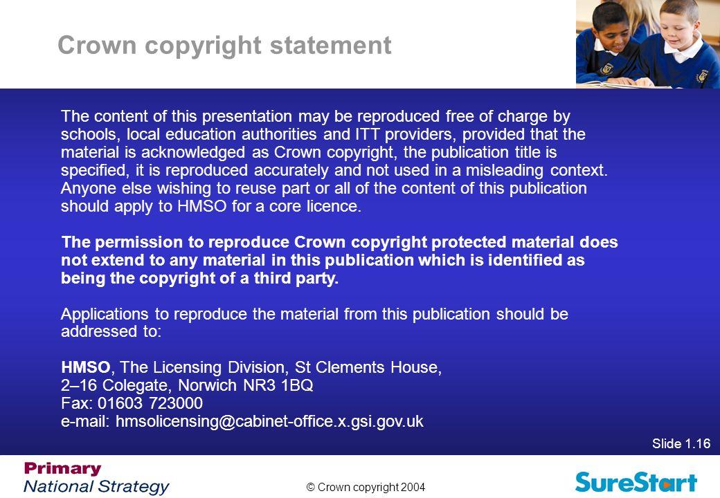 Crown copyright statement