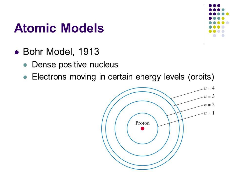 Atomic Models Bohr Model, 1913 Dense positive nucleus