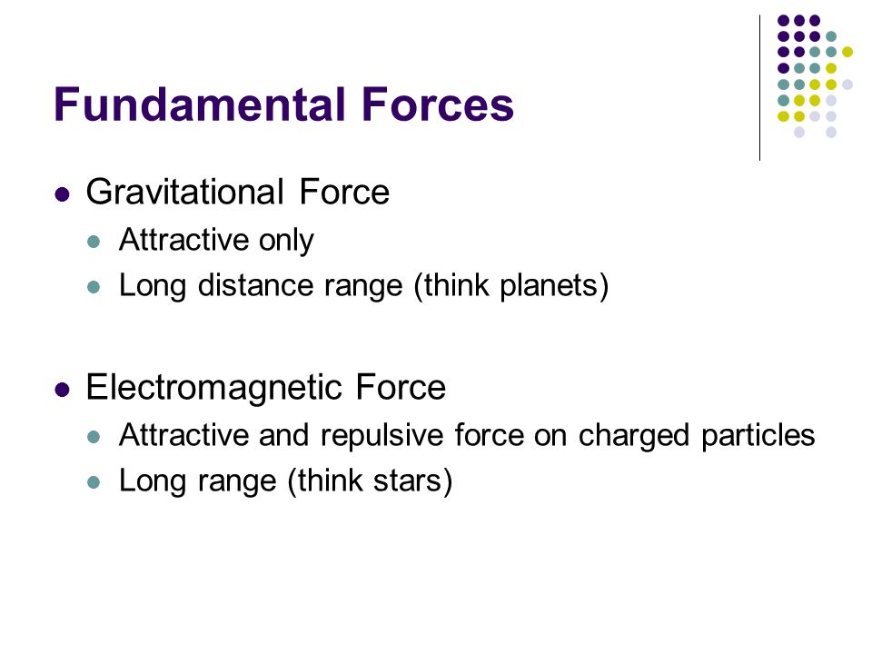 Fundamental Forces Gravitational Force Electromagnetic Force