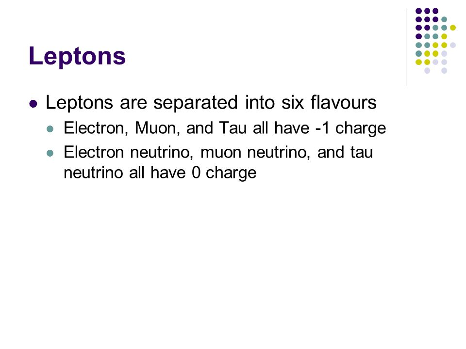 Leptons Leptons are separated into six flavours