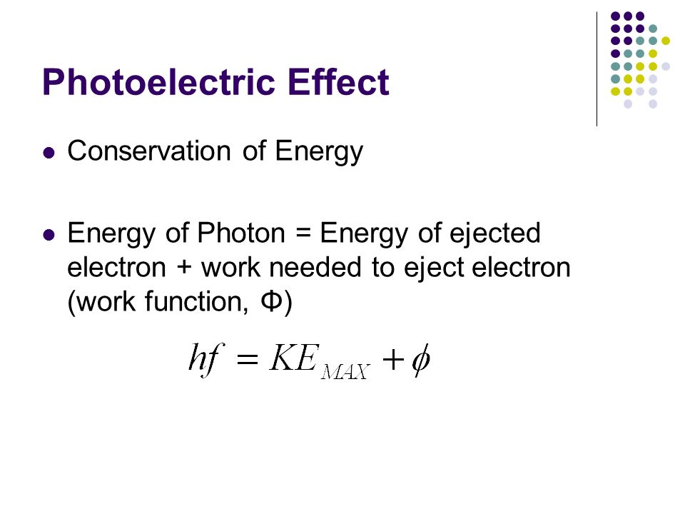 Photoelectric Effect Conservation of Energy