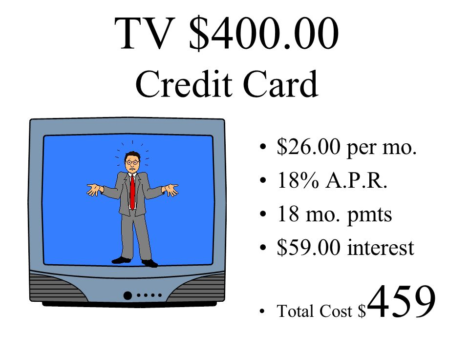 TV $400.00 Credit Card $26.00 per mo. 18% A.P.R. 18 mo. pmts