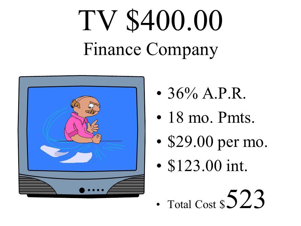 TV $400.00 Finance Company 36% A.P.R. 18 mo. Pmts. $29.00 per mo.