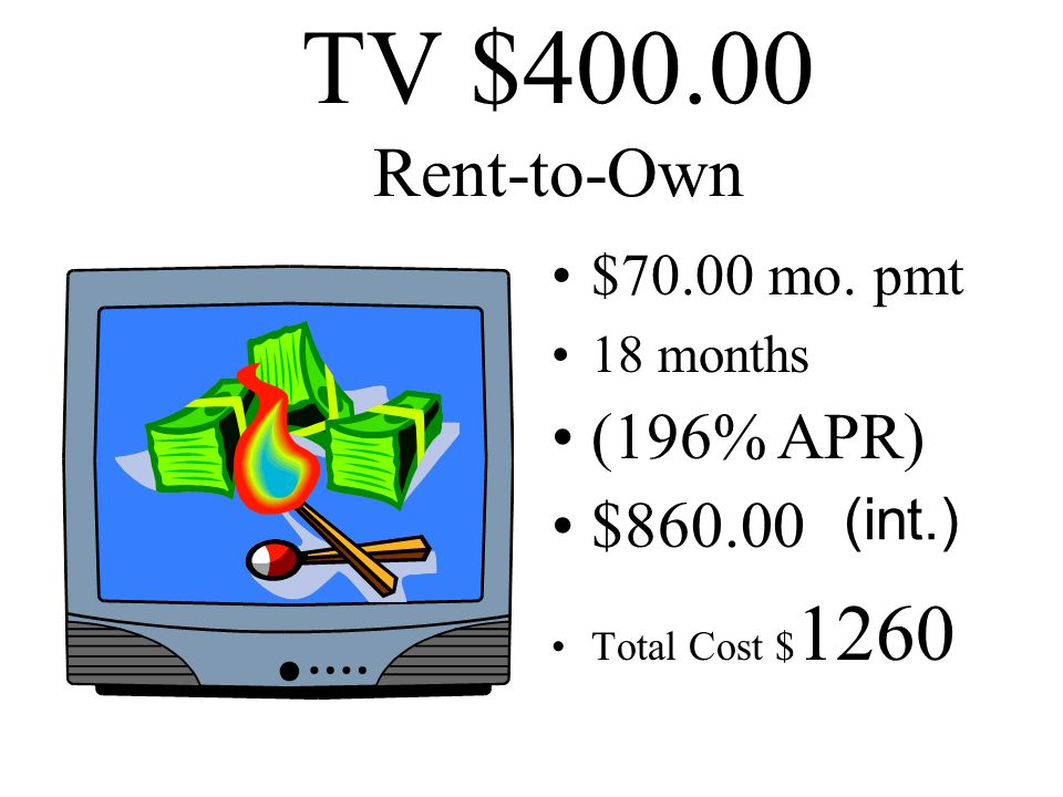 TV $400.00 Rent-to-Own (196% APR) $860.00 $70.00 mo. pmt (int.)