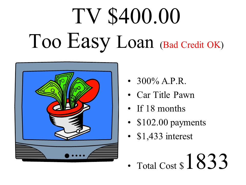 TV $400.00 Too Easy Loan (Bad Credit OK)