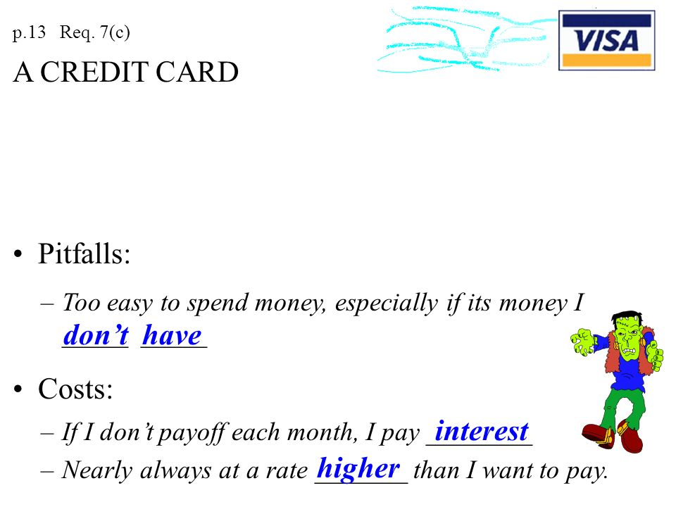 A CREDIT CARD Pitfalls: don't have Costs: interest higher