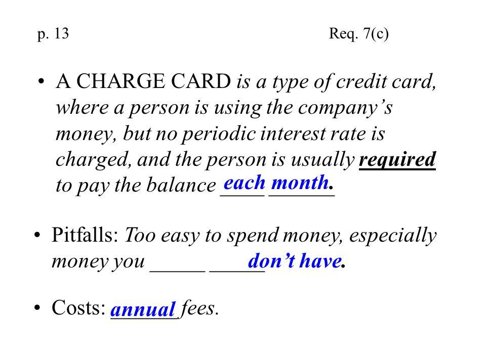 Pitfalls: Too easy to spend money, especially money you _____ _____